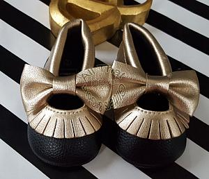 Black and Gold Soft Soled Baby Girl Moccasin Shoes With Bows