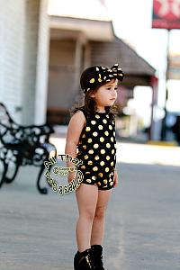 Black and Gold Polka Dot Baby Girls & Little Girls Tank Sleeveless Bodysuits Rompers