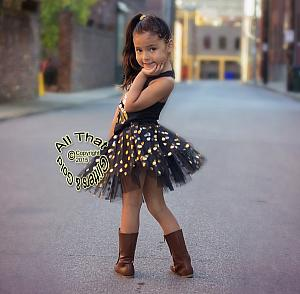 Gold Polka Dot Tutu Skirts For Baby Girls and Little Girls