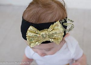Baby and Little Girls Black and Gold Sequin 4.5 Inch Big Bow Headbands