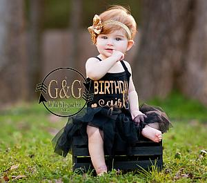 Black and Gold Glitter Birthday Girl Tutu Dresses For Baby Girls First Birthday