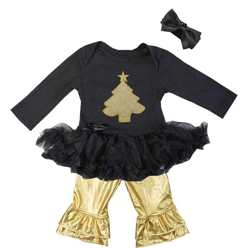 Black and Metallic Gold 3 Pc Gold Christmas Tree Baby Girl Pants Outfit