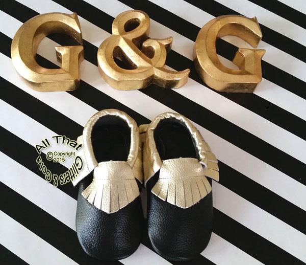 c82b6c4687b Leather Black and Gold Soft Soled Baby Fringe Moccasin Shoes