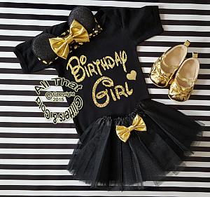 Black and Gold Glitter Birthday Girl Minnie Birthday Tutu Outfit Age 1 to 6