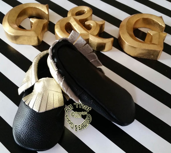 Leather Black and Gold Soft Soled Baby Fringe  Moccasin Shoes