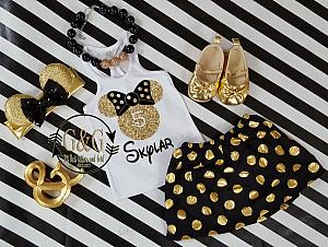 Black and Gold Polka Dot Minnie Birthday Age Outfit For Girls Ages 2 to 8