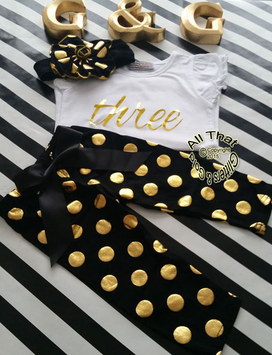 Black and Gold Polka Dot 2nd 3rd 4th Girls Birthday Pants Outfits