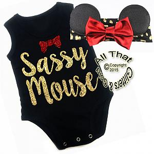2 Pc Black, Red and Gold Glitter Sassy Mouse Girls Outfit