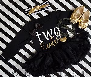 Black White and Gold Two Cute Two Year Old Birthday Tutu Dresses For Toddler Girls