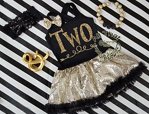 Black and Gold Sequin Two Year Old Birthday Tutu Dresses For Toddler Girls