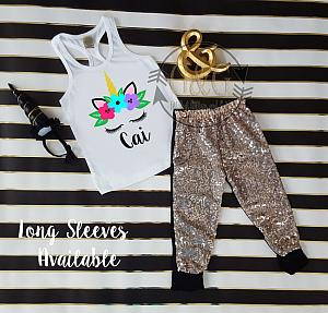 Black and Gold Unicorn Face Sequin Birthday Pants Outfit Ages 1-6