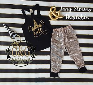 f19378fd7 Funny Black Unicorn Dab Sequin Birthday Pants Outfits Toddler Girls ...