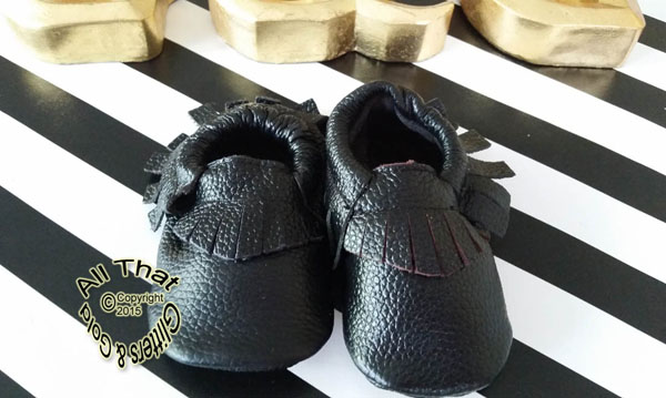 Leather Black Soft Soled Baby Fringe  Moccasin Shoes