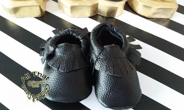 Leather Black Soft Soled Baby Fringe  Moccasin Shoes