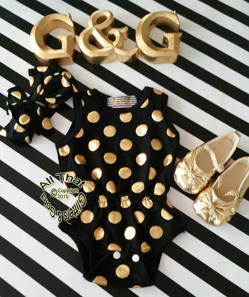 Black and Gold Polka Dot Baby Girls & Little Girls Tank Sleeveless Bodysuits Rompers