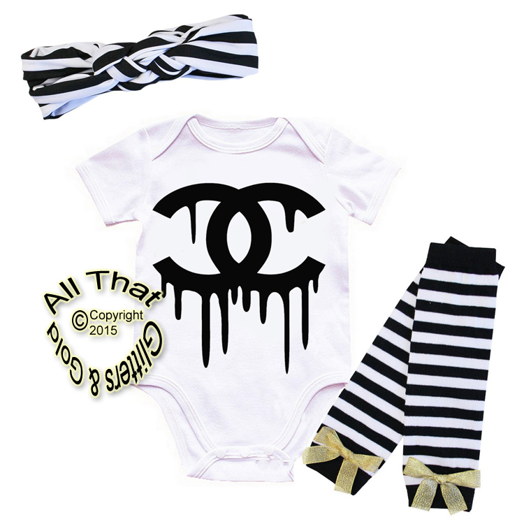 Black and Gold Fake Chanel Baby Girl Outfit