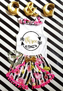 Black and White Stripes With Flowers 2nd 3rd 4th Girls Birthday Pom Pom Shorts Outfits