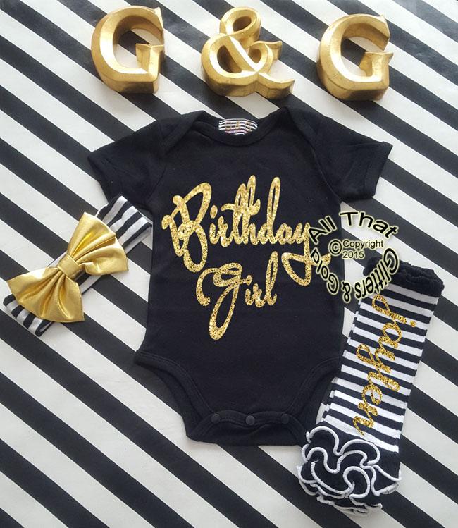 Personalized Baby Girls Glitter Birthday Girl First Birthday Shirt