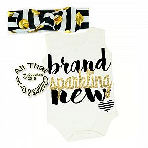 Black, White and Gold Glitter Brand Sparkling New Shirt or Outfit