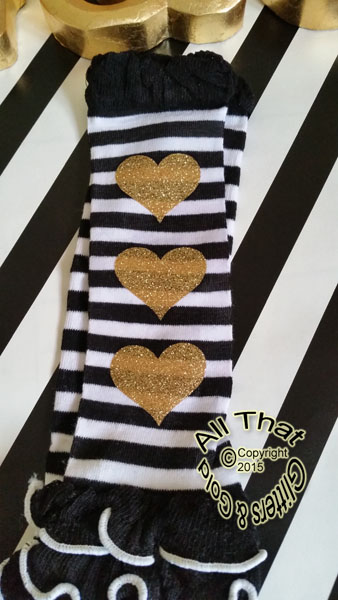 Black and White Striped Gold Heart Girls Leg Warmers