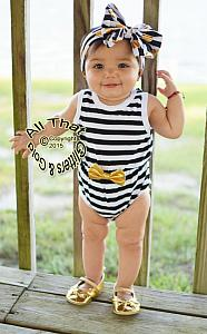 Black, White and Gold Striped Baby Girls Tank Sleeveless Bodysuits Rompers
