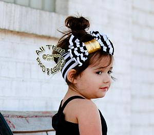 Black White and Gold Striped Baby and Little Girls Big Bow Headbands