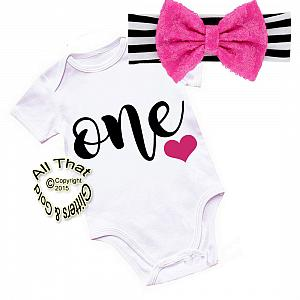 Black, Hot Pink and White One Year Old Shirt or Outfit For 1st Birthday