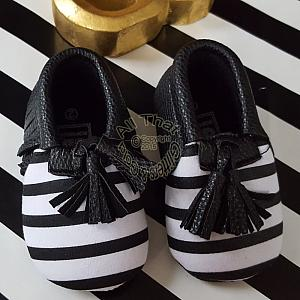 Black and White Striped Soft Soled Baby Girl Moccasin Shoes With Tassels