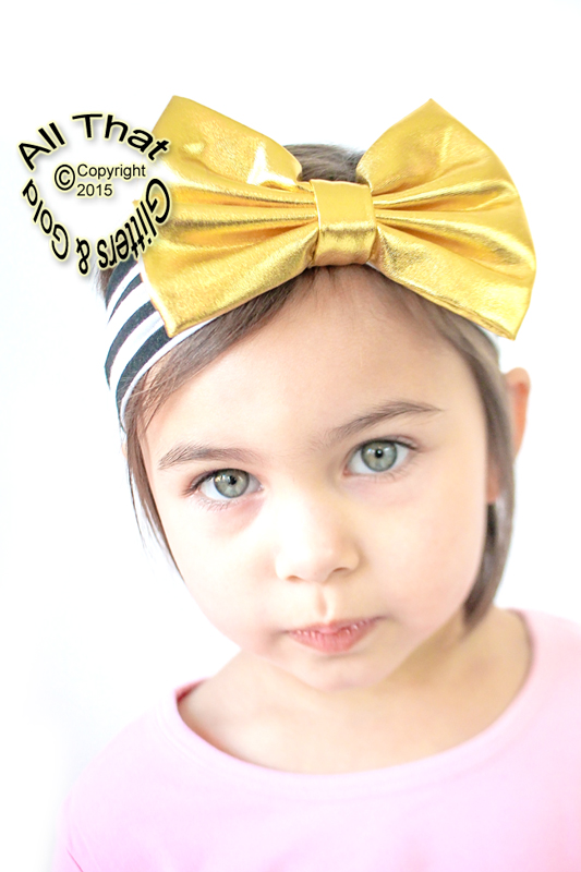 Baby and Little Girls Black and White Striped Gold Metallic 5 Inch Big Bow Headbands