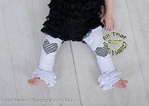 White and Black Glitter Heart Striped Baby Girl Leg Warmers