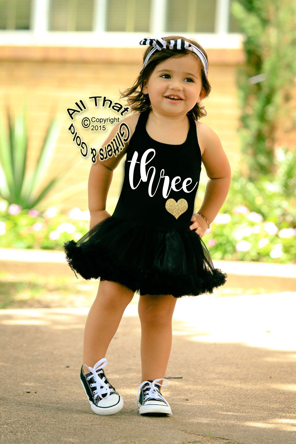 Black and White Glitter Three 3rd Birthday Tutu Dresses For 3 Year Old Toddler Girls