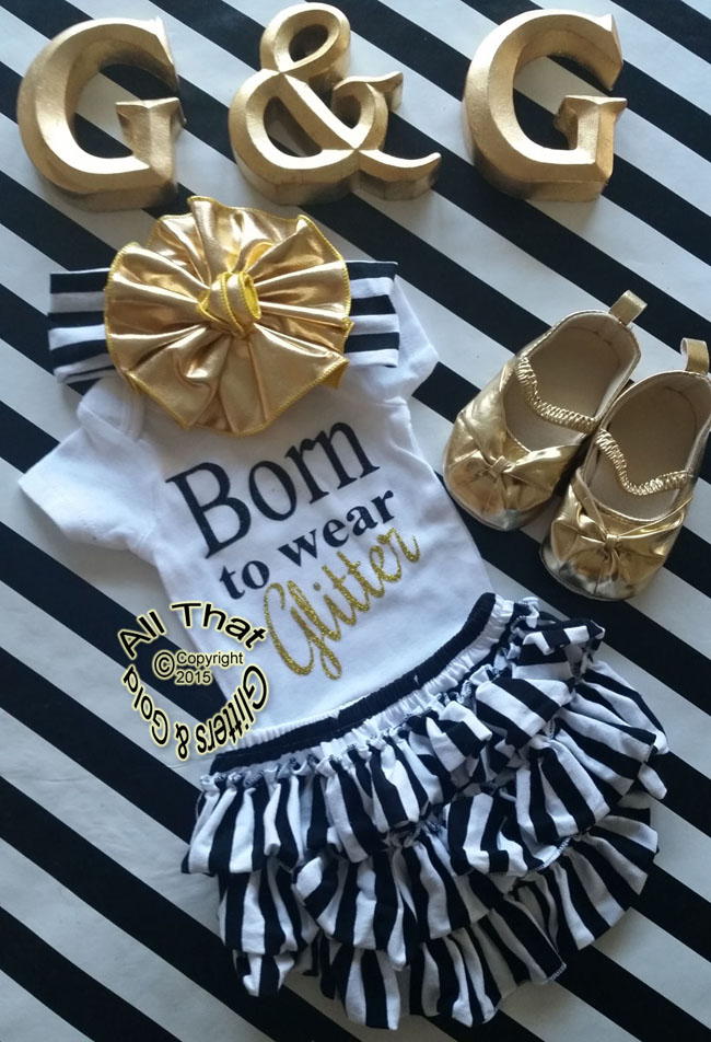 Black and Gold Glitter Born To Wear Glitter Baby Girl and Little Girl Shirt