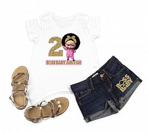 Boss Baby Girl 2nd Birthday Outfit With Denim Shorts For Girls - Pink and Gold Pointing