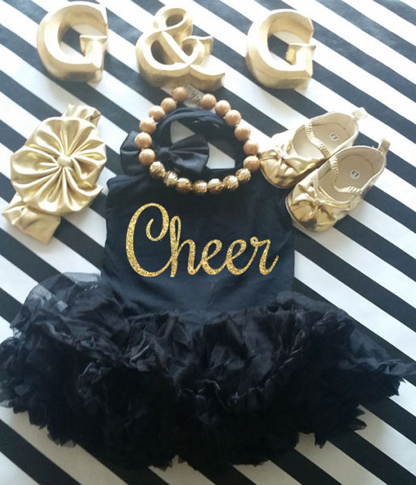 Black and Gold Glitter Cheer Christmas Tutu Dress For Little Girls