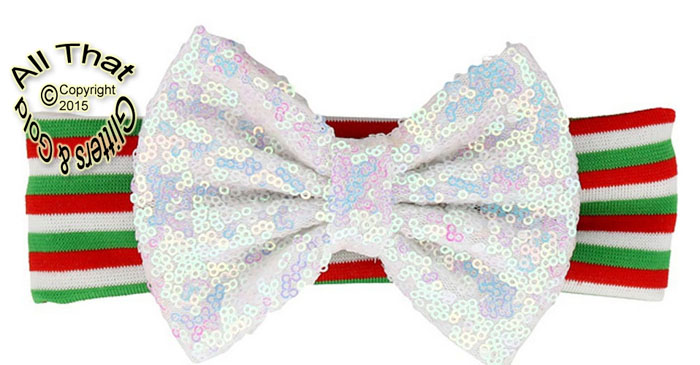Baby and Little Girls Striped White Sequin 5 Inch Big Bow Christmas Headbands