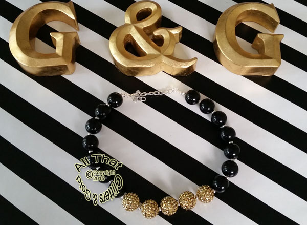 Black and Gold Glitter Sparkly Chunky Baby Girls, Little Girls and Women's Necklace