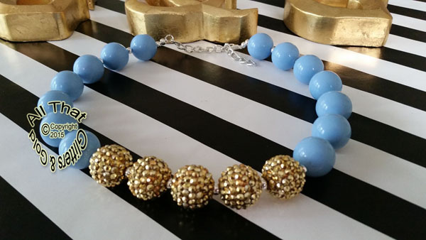 Light Blue and Gold Glitter Sparkly Chunky Baby Girls, Little Girls and Women's Necklace