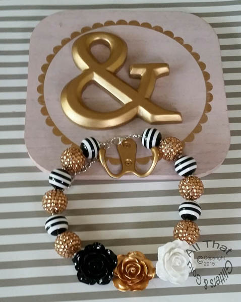 Black, White, and Gold Glitter Sparkly Bling Baby Girls & Women Chunky Beaded Necklace