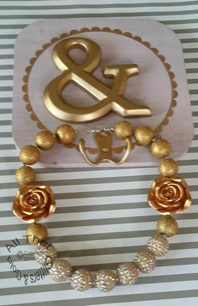 Gold Glitter Sparkly Chunky Gold Two Flowers Baby Girls, Little Girls and Women's Necklace