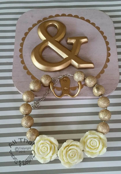 Ivory and Gold Glitter Sparkly Chunky Gold 3 Three Flowers Baby Girls, Little Girls and Women's Necklace