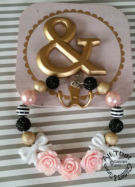 Light Pink, Black Gold Glitter Sparkly Chunky Gold 3 Three Flowers Baby Girls, Little Girls and Women's Necklace