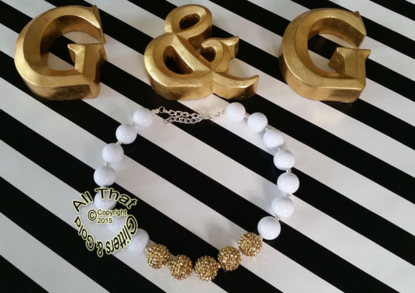 White and Gold Glitter Sparkly Chunky Baby Girls, Little Girls and Women's Necklace
