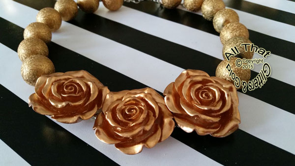 Gold Glitter Sparkly Chunky Gold 3 Three Flowers Baby Girls, Little Girls and Women's Necklace