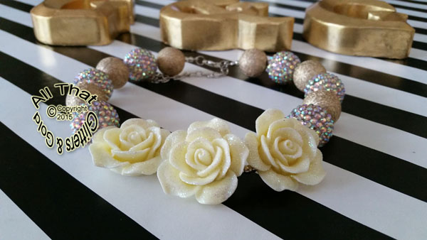 Gold Glitter Sparkly Chunky Baby Girls, Little Girls and Women's Flower Necklace