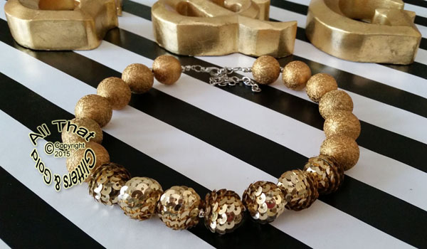 Gold Sequin Sparkly Chunky Baby Girls, Little Girls and Women's Necklace