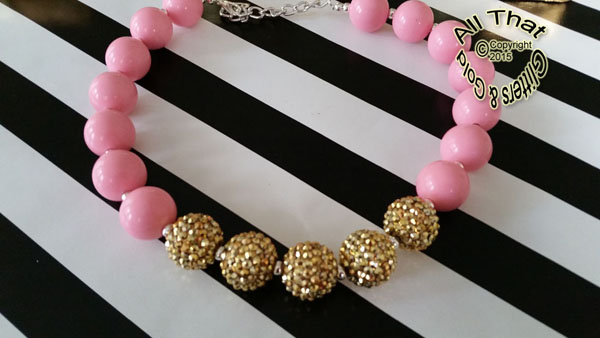 Pink and Gold Glitter Sparkly Chunky Baby Girls, Little Girls and Women's Necklace