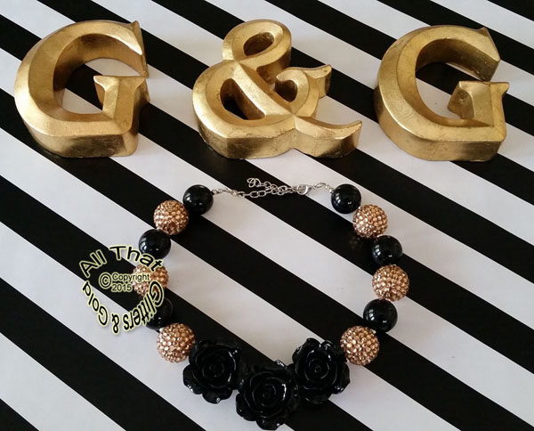 Black and Gold Three Roses Glitter Chunky Baby Girls, Little Girls and Women's Necklace