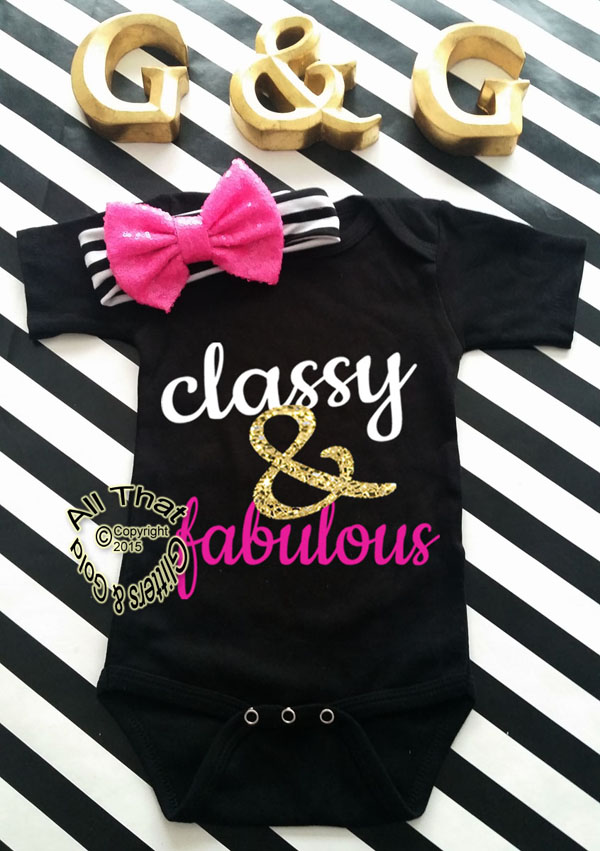 Black and Pink Glitter Classy and Fabulous Baby Girl Onesies or Shirt