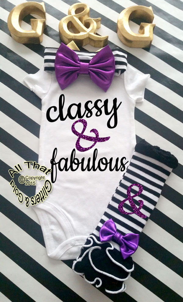 Black and Purple Glitter Classy and Fabulous Baby Girl Onesies or Shirt
