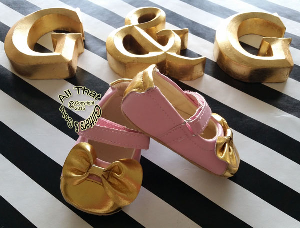 Gold and Pink Soft Soled Mary Jane Dress Baby Shoes